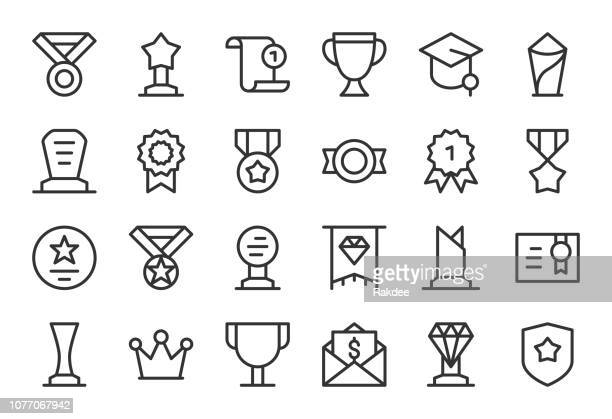 award and trophy icons - light line series - vip stock illustrations