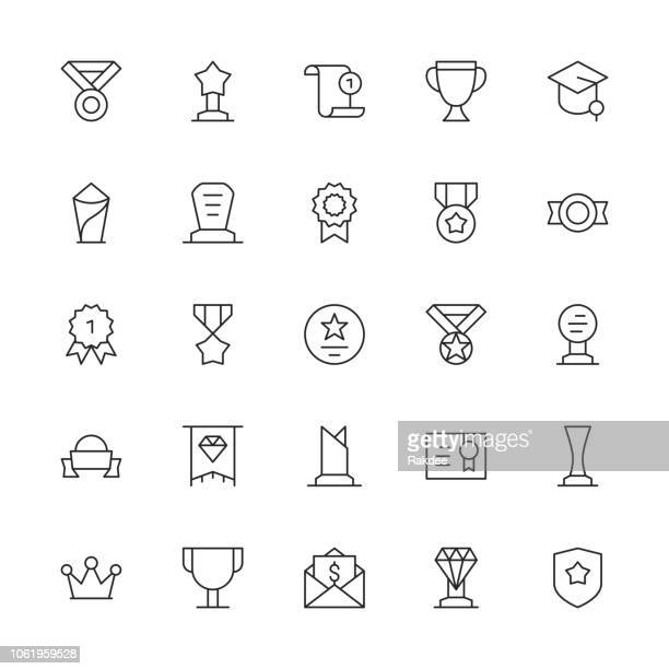 award and trophy icons - thin line series - award plaque stock illustrations, clip art, cartoons, & icons