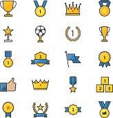 Award and Trophy Ribbon Best Set Of Winner Sport