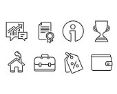 Award cup, Portfolio and Certificate icons. Discount tags, Accounting and Money wallet signs.