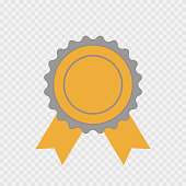 Award icon isolated. Vector infographic sign for the First Place, Best, Winner. Grey and yellow circle symbol with ribbon on transparent background. Label illustration for web design, awarding, decoration