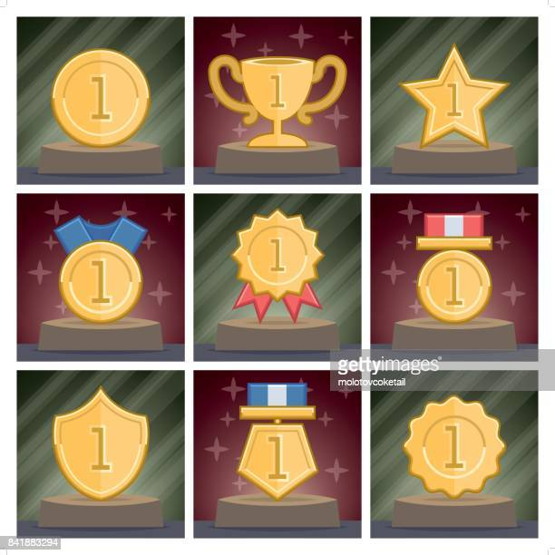 9 award icon set in 2 different backgrounds