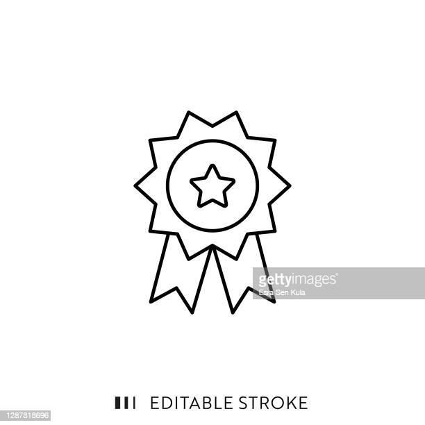 stockillustraties, clipart, cartoons en iconen met pictogram award met bewerkbare lijn - enkel object
