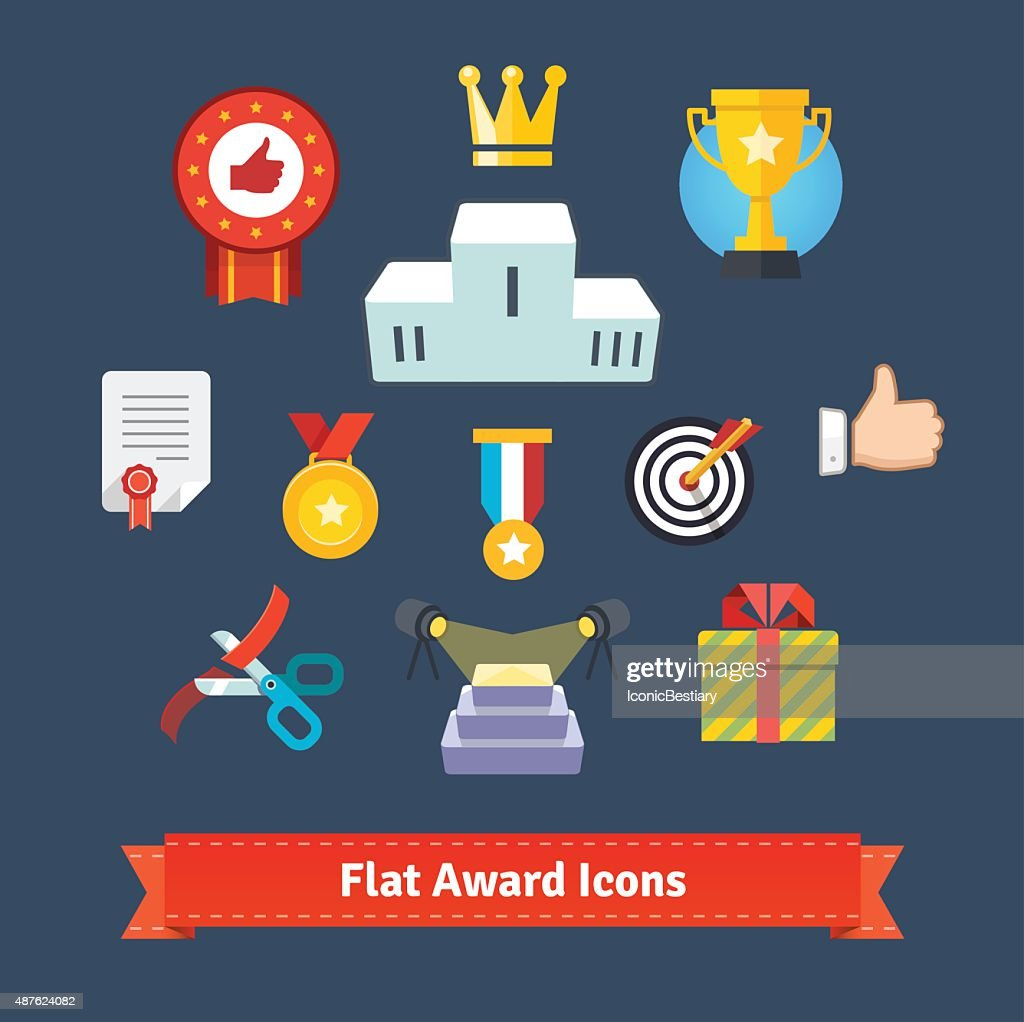 Award icons in colourful flatness