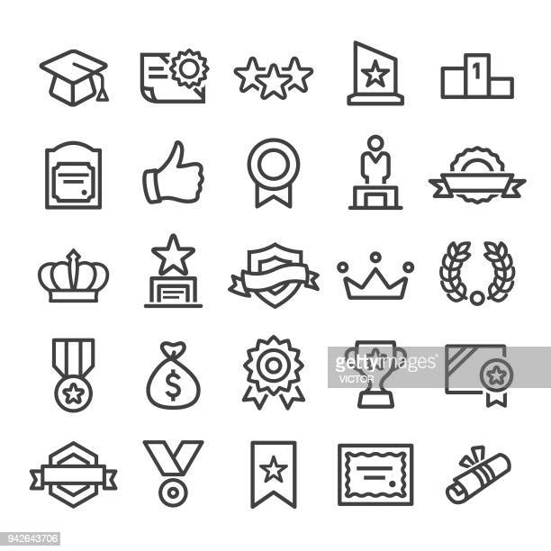 award icons - smart line series - incentive stock illustrations, clip art, cartoons, & icons