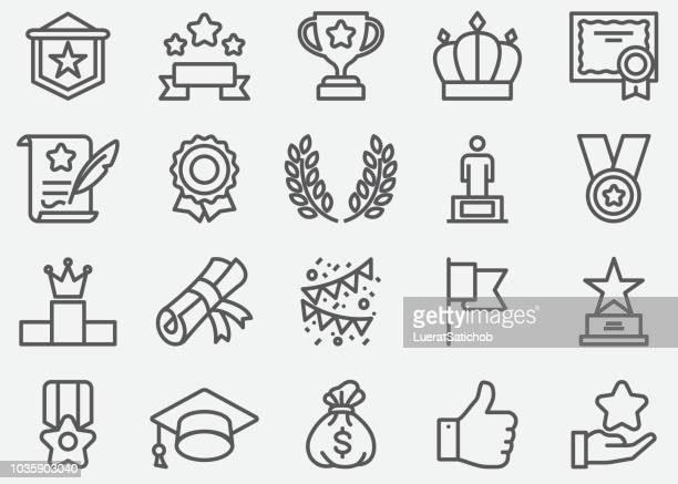 award line icons - stage set stock illustrations