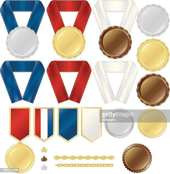 Award Medals, Stickers, Ribbons, Chains Set: Metallic Gold, Silver, Bronze