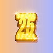 Award number 25 banner, gold object
