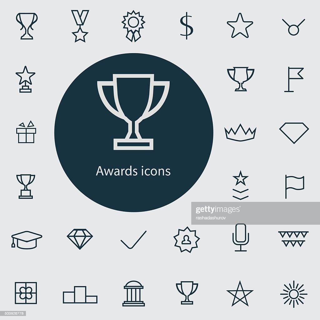 award outline, thin, flat, digital icon set