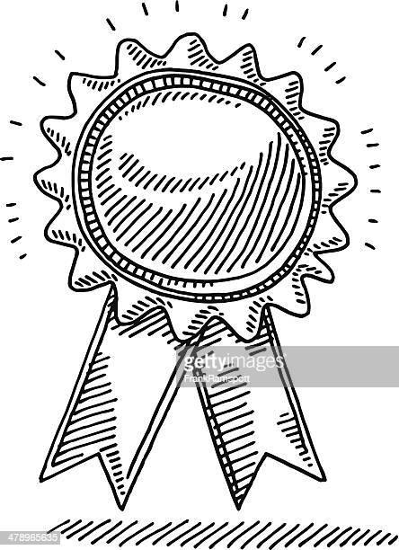 award ribbon badge drawing - incentive stock illustrations, clip art, cartoons, & icons