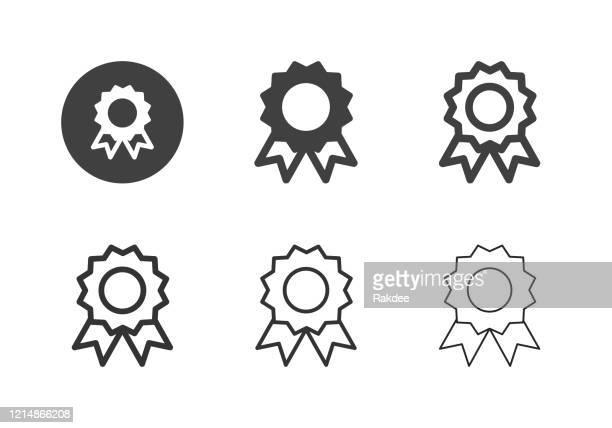 illustrations, cliparts, dessins animés et icônes de icônes de ruban de récompense - multi series - cérémonie du ruban