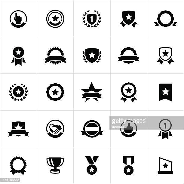 award, seals, banners and ribbons icons - number 1 stock illustrations, clip art, cartoons, & icons
