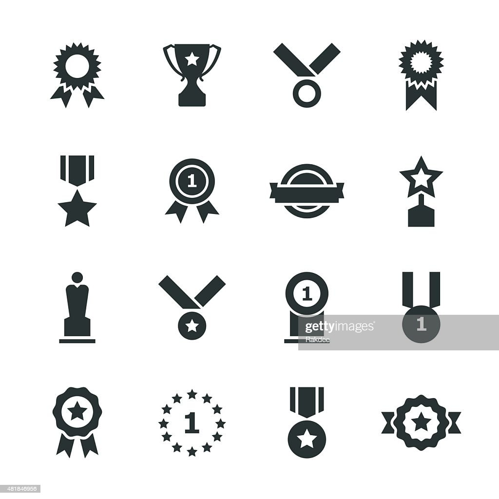 Award Silhouette Icons : stock illustration