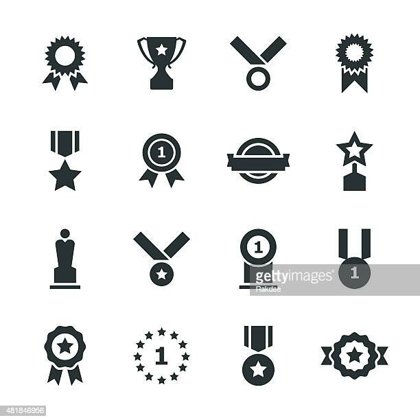 stockillustraties, clipart, cartoons en iconen met award silhouette icons - beroemdheden