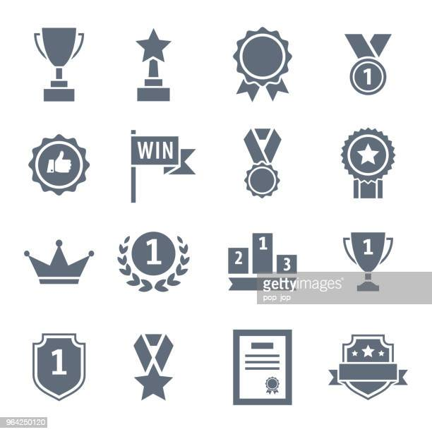award, trophy, cup and medal flat icon set - black illustration - award stock illustrations