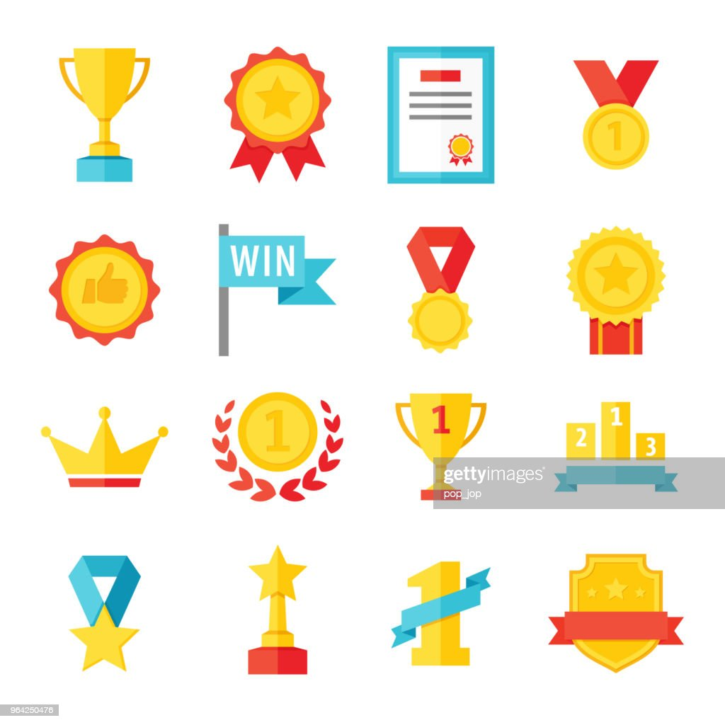 Award, trophy, cup and medal flat icon set - color illustration : Stock Illustration
