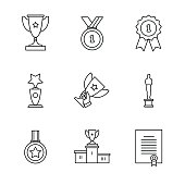 Award winner icons thin line art set