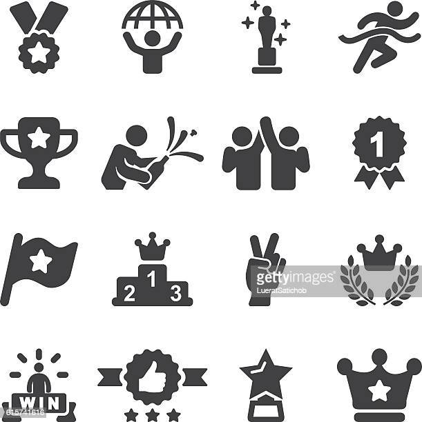 award winning and success silhouette icons | eps10 - achievement stock illustrations, clip art, cartoons, & icons