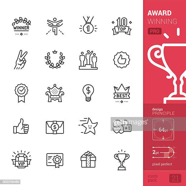 award winning related vector icons - pro pack - achievement stock illustrations, clip art, cartoons, & icons