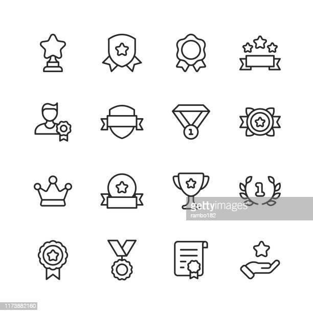 awards and achievement line icons. editable stroke. pixel perfect. for mobile and web. contains such icons as award, medal, gold, achievement, success, podium, winning. - laurel wreath stock illustrations