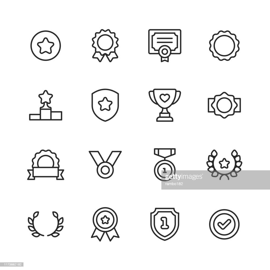 Awards and Achievement Line Icons. Editable Stroke. Pixel Perfect. For Mobile and Web. Contains such icons as Award, Medal, Gold, Achievement, Success, Podium, Winning. : Stock Illustration