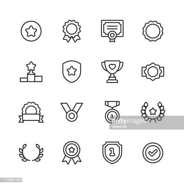 awards and achievement line icons. editable stroke. pixel perfect. for mobile and web. contains such icons as award, medal, gold, achievement, success, podium, winning. - success stock illustrations