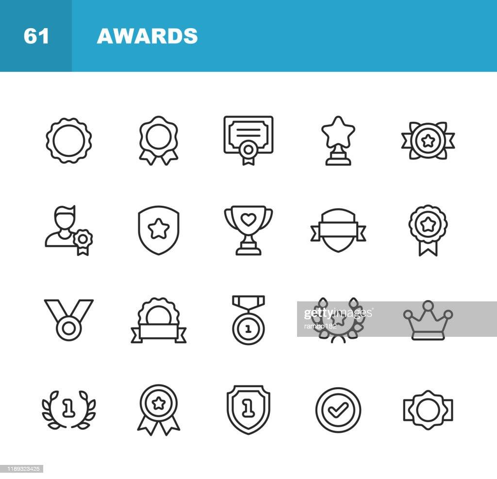 Auszeichnungen und Erfolgsliniensymbole. Bearbeitbarer Strich. Pixel perfekt. Für Mobile und Web. Enthält Symbole wie Auszeichnung, Medaille, Gold, Erfolg, Erfolg, Podium, Gewinnen. : Stock-Illustration