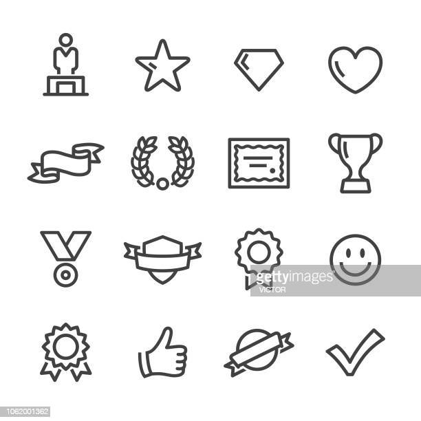 awards and prizes icons - line series - rating stock illustrations