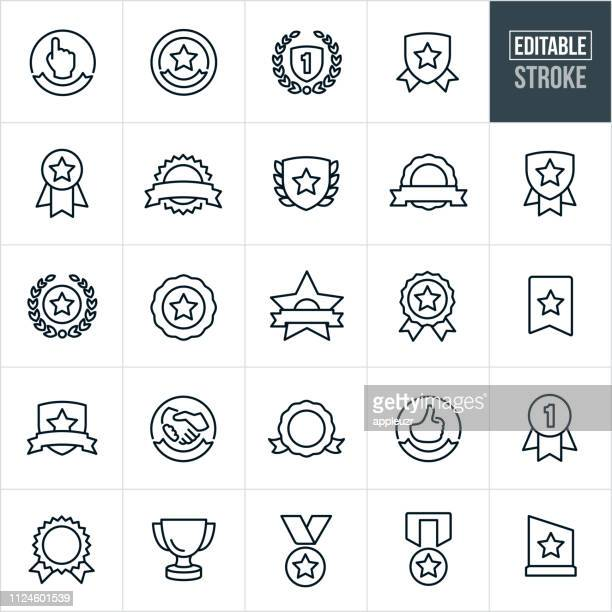 awards and ribbons line icons - editable stroke - success stock illustrations
