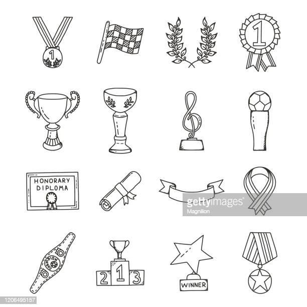 stockillustraties, clipart, cartoons en iconen met awards en winnaars doodles set - succes