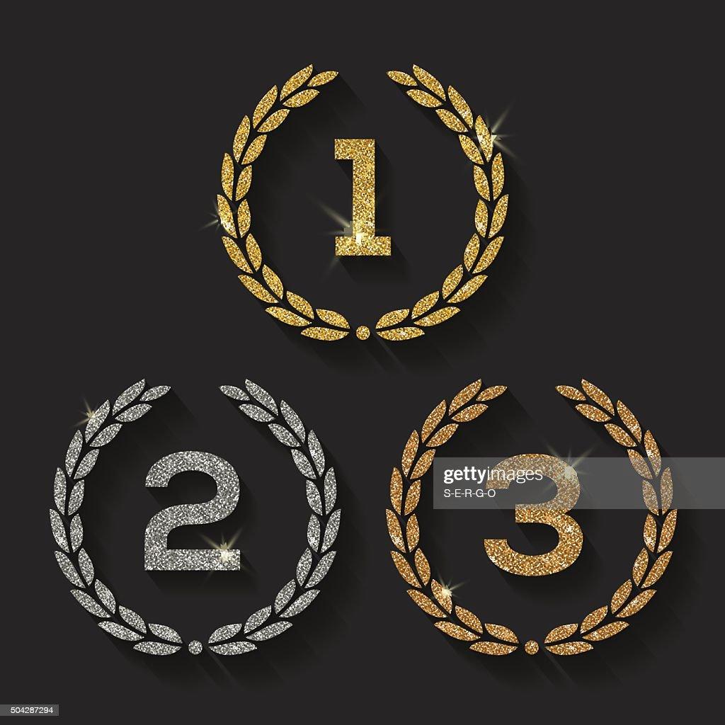 Awards glitter golden emblems