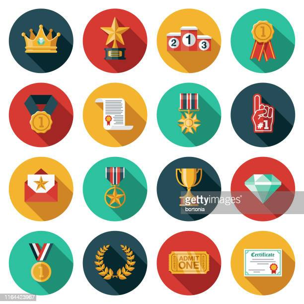 awards icon set - success stock illustrations