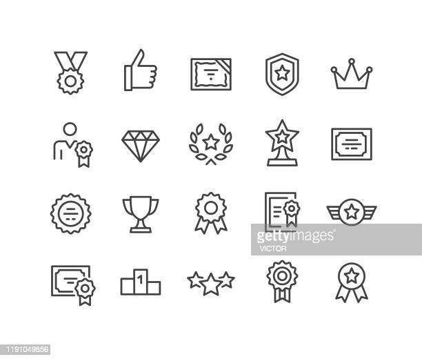 awards icons - classic line series - heroes stock illustrations