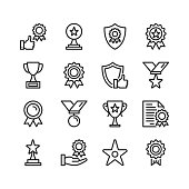 Awards line icons. Modern stroke, linear elements. Outline symbols collection. Premium quality. Pixel perfect. Vector thin line icons set