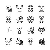 Awards line icons set. Modern graphic design concepts, simple outline elements collection. Vector line icons