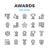 Awards line icons set. Modern outline elements, graphic design concepts. Stroke, linear style. Simple symbols collection. Vector line icons