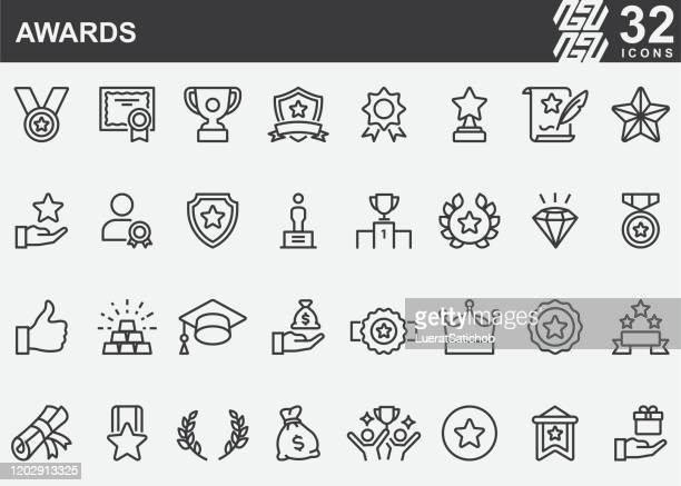 awards line icons - championships stock illustrations