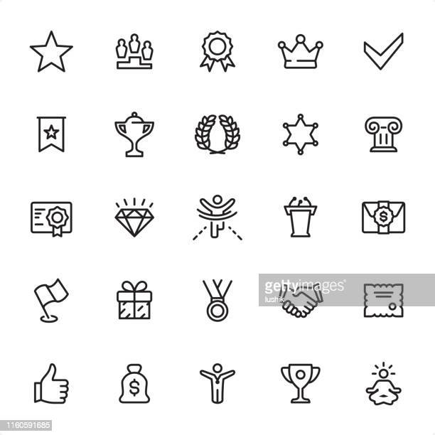awards - outline icon set - respect stock illustrations