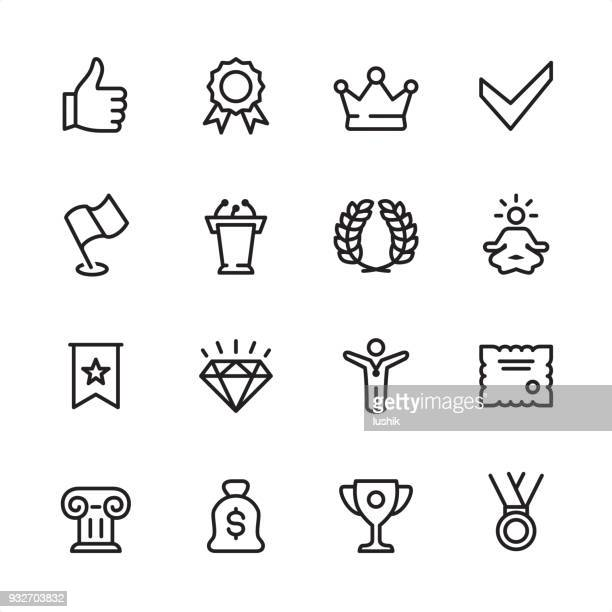 awards - outline icon set - achievement stock illustrations, clip art, cartoons, & icons