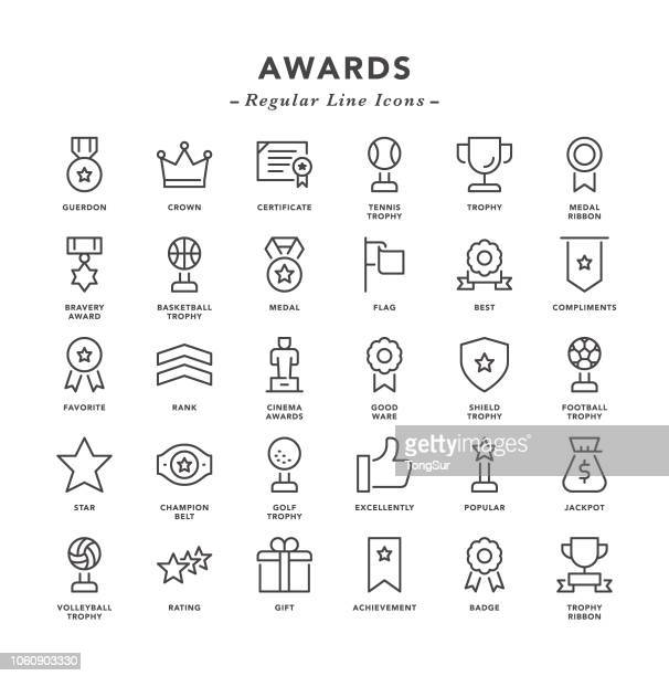 awards - regular line icons - jackpot stock illustrations, clip art, cartoons, & icons