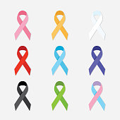 Awareness charity ribbons flat vector design elements