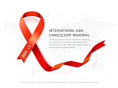 Awareness red vector ribbon, symbol of AIDS memorial day isolated