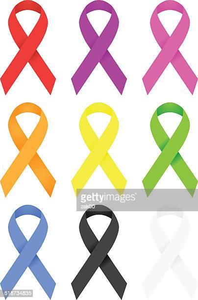 awareness ribbons - aids awareness ribbon stock illustrations
