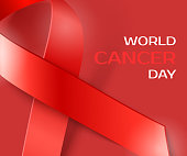 Awareness World Cancer Day red ribbon