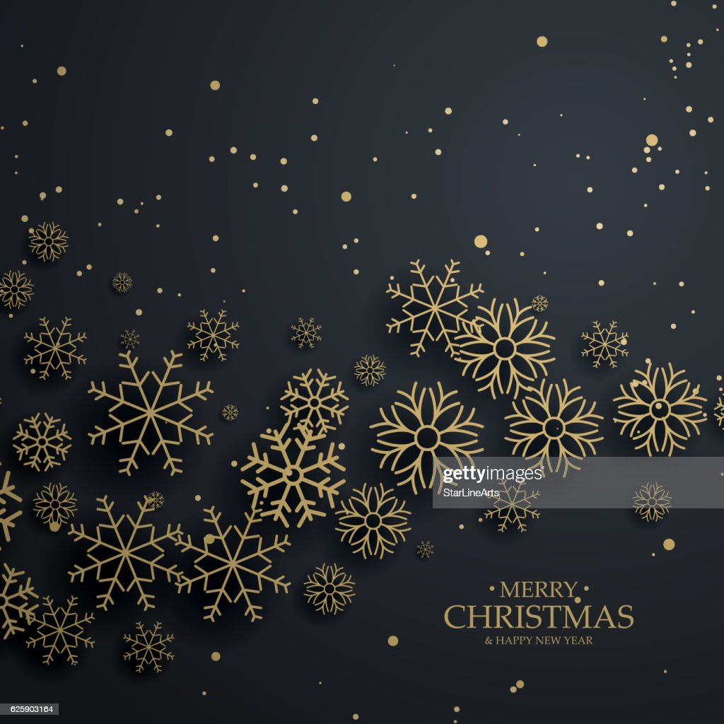 awesome black background with gold snowflakes for merry christma