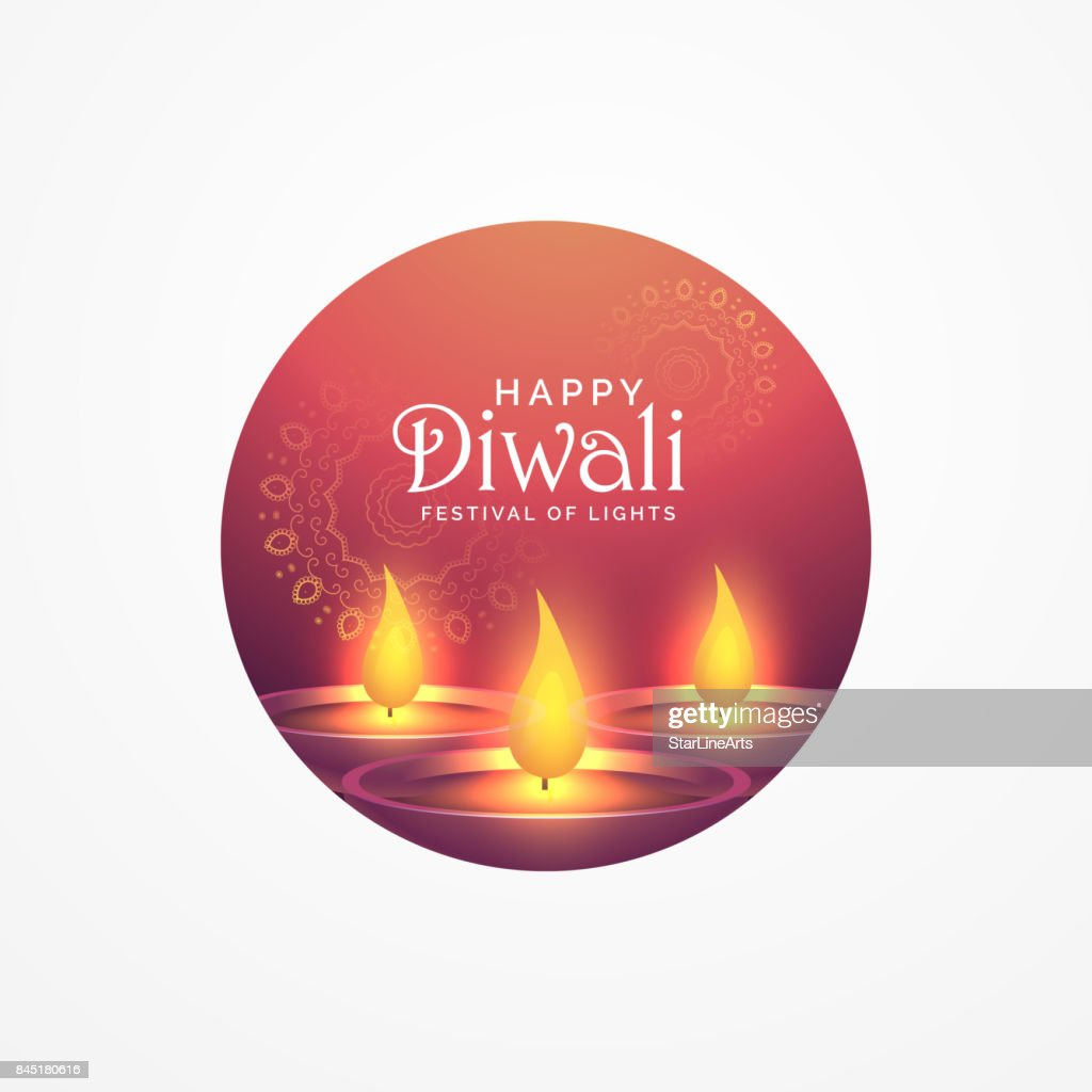 Awesome Diwali Greeting Card Design With Burning Diya For Festival
