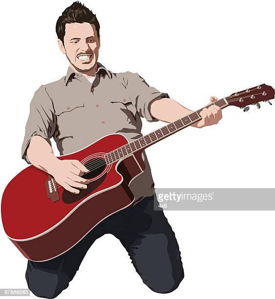 素晴らしいギタープレーヤー - 膝から上の構図点のイラスト素材/クリップアート素材/マンガ素材/アイコン素材