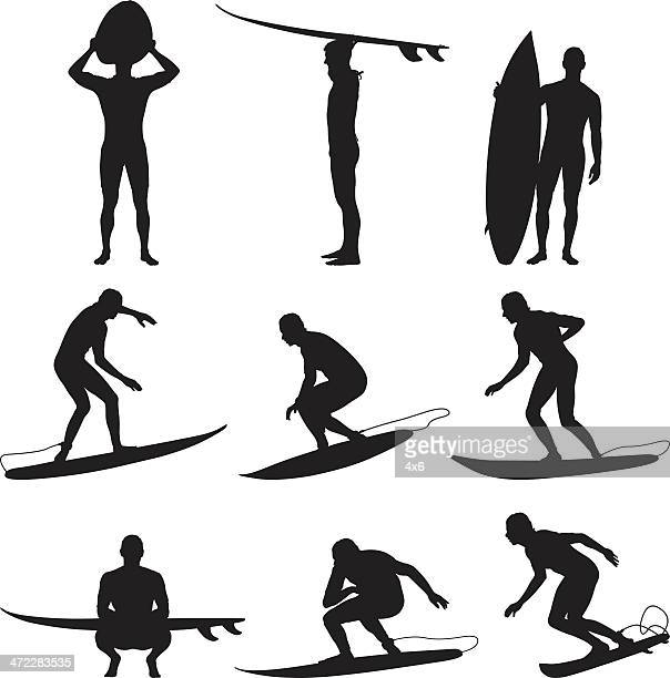 Awesome male surfers with surfboards