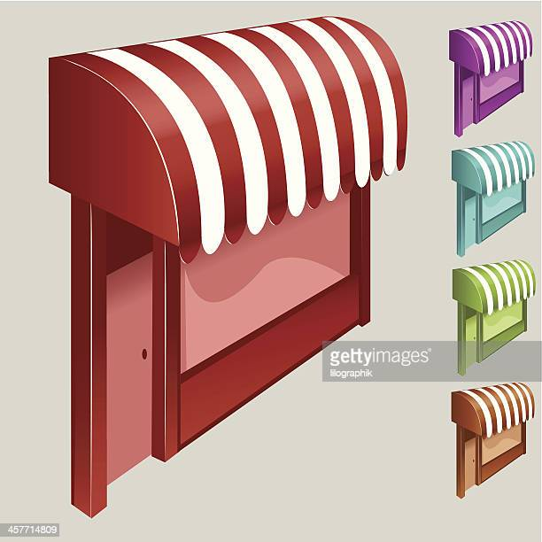 awnings - store sign stock illustrations