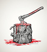 Ax in wooden with blood stains
